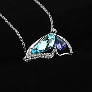 SHIP BY USPS: Le Premium Butterfly Breaking Cocoon Necklace MADE WITH SWAROVSKI ELEMENTS Aquamarine+Tanzanite