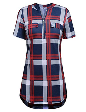 Womens V Neck 3/4 Long Sleeve Zipper Shirts Casual Swing Tunic Tops Blouse
