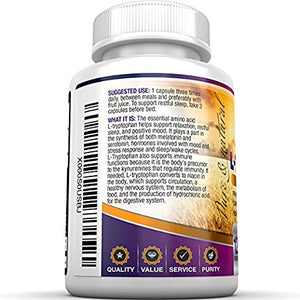 SHIP BY USPS BRI Nutrition L-Tryptophan - 1500mg Servings - 120 Count of L Tryptophan - 500 mg per Capsule
