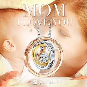 I Love You Mom Necklace Engraved Pendant Gold Plated Necklace Nickel Free, Box Packaged - Gifts for Mom Wife Daughter Mother in Law Mother-to-be!