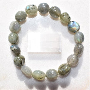 CHARGED Labradorite Crystal Bracelet Tumble Polished Stretchy HEALING ENERGY / TRANSFORMATION / CLARITY REIKI by ZENERGY GEMS