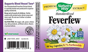 SHIP BY USPS: Feverfew Standardized Extract Nature's Way 60 Caps