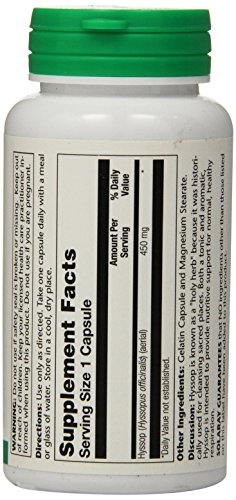 SHIP BY USPS: Solaray Hyssop Capsules, 450 mg, 90 Count