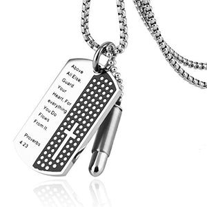 Stainless Steel Carved Bible Verse Cross Dog Tag and Bullet Ash Urn Pendant Necklace