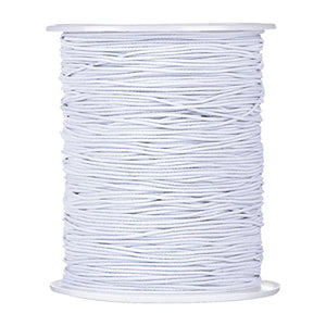 Elastic Cord Stretch Thread Beading Cord Fabric Crafting String, 0.8 mm, White (200 Meters)