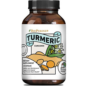 SHIP BY USPS: Ground Turmeric Curcumin with Bioperine – for Women + Men – All Natural Pure Root Extract...