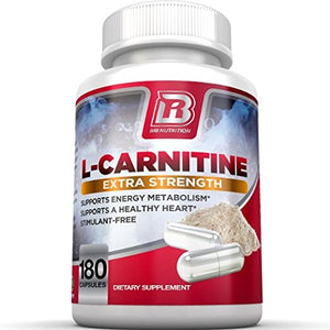 SHIP BY USPS BRI Nutrition L-Carnitine - 180 Count 500mg Capsules - 1000mg Servings