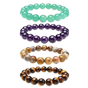 [Set of 4] Top Plaza Mens Womens Natural Gemstone Round Beads Healing Crystals Reiki Chakra Balancing Stretch Bracelets