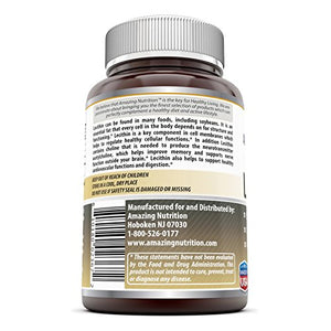 Amazing Formulas Lecithin Dietary Supplement * 1200 mg High Potency Lecithin Softgels * Promotes Brain &...
