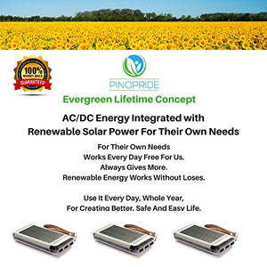 PINOPRIDE Battery Powered Solar Charger - Cell Phone Charger Outdoor Portable Solar Power Outlet - 15000mAh Power Bank - Mobile USB Device for Iphone Sumsung Integrated AC DC Solar Panel Charging