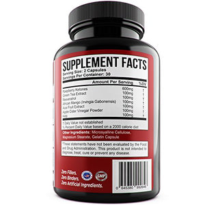 SHIP BY USPS: 1 BOTTLE - 60 capsules* EXTREME STRENGTH RASPBERRY KETONES – Green Tea – African Mango – Resveratrol - Acai Fruit Extract **...