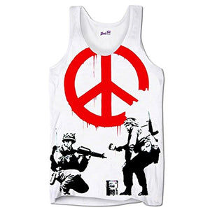Men's Graphic Tank Top Beach Sleeveless T Shirt Banksy Peace Solder Printed Tank