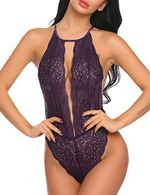 Women One Piece V Lingerie Lace Teddy Bodysuit Halter Babydoll Outfits