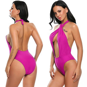 Women Halter Swimsuit CrissCross One Piece Monokini Swimwear Bathing Suit Wirefree Padded Beach Wear
