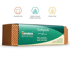 SHIP BY USPS: Himalaya Neem and Pomegranate Fluoride- Free Natural Toothpaste, SLS Free, 5.29 Oz/150 gm