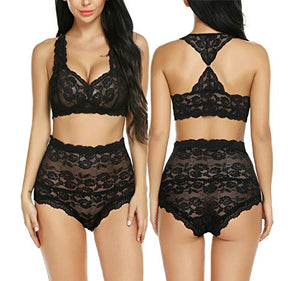 Women High Waisted Lingerie Set Lace Bralette Set Sexy Bra Panty Set