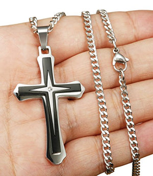 SHIP BY USPS: ORAZIO Stainless Steel Cross Necklace Pendant for Men 3.5MM Curb Chain Necklace 22-30 Inch