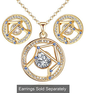 "Leafael ""Superstar Zodiac Constellation Pendant Necklace Made with Swarovski Crystal Horoscope Jewelry, Gold or Rose Gold Plated, 18""+ 2"""