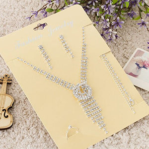 SHIP BY USPS: Sunshinesmile Bride Vintage Tassel Rhinestone Necklace + Earrings + Bracelet + Ring Bridal Jewelry