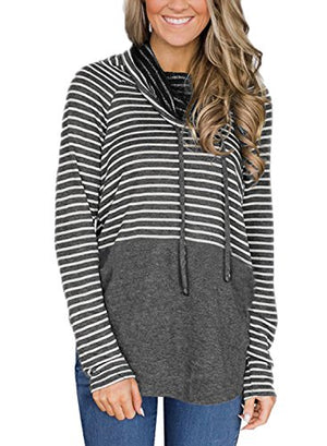 BLENCOT Women's Cowl Neck Hoodies Tops Long Sleeve Color Block Drawstring Lightweight Hooded Sweatshirt