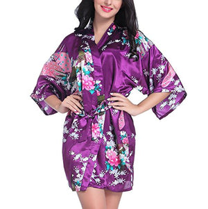 Admire Women's Bridesmaid Robes Short Peacock Blossoms Kimono Robe Dressing Gown Floral Robes