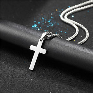 SHIP BY USPS: Cross Necklaces Stainless Steel Pendant & Chain Christian Jewelry Gift for Him,22 inches,PSP2525G