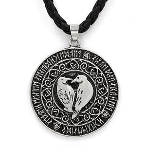 SHIP BY USPS: TTKP Men Norse Vikings Pendant Necklace Valknut Raven Rune Pendant Knot Viking Amulet Pendant Necklace Nordic Talisman
