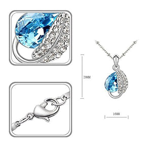 SHIP BY USPS: Jewelry Set Leaf Pendant Necklace+Stud Earrings Water Drop shaped Swarovski Aquamarine Crystals