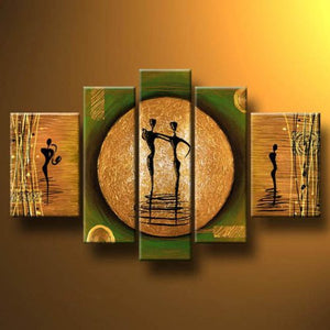 Art - Dance on a Golden Moon Modern 100% Hand-painted Stretched and Framed Artwork 5 Piece Abstract Oil Paintings on Canvas Wall Art Décor for Living Room Bedroom Home Decorations