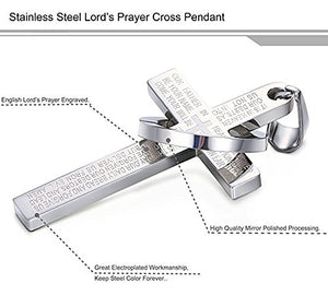 SHIP BY USPS The Lord's Prayer Men's Stainless Steel Necklace for Men [Silver & Military Black]