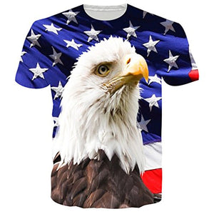 Unisex 3D Graphic Printed Eagle Casual Short Sleeve T Shirts Tees