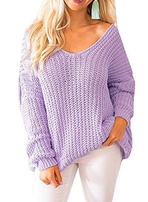 Womens Sweaters Pullover Oversized Off The Shoulder V Neck Knit Jumper Tops