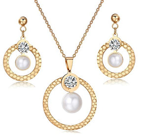 SHIP BY USPS: S7 18K Gold Plated Jewelry Pearl Fashion Lady Clear Crystal Rose Gold Necklace Earrings 3 Sets