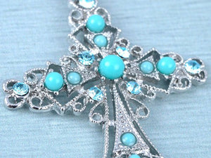 SHIP BY USPS: Alilang Womens Silver Tone Turquoise Blue Beaded Rhinestone Celtic Cross Pendant Necklace