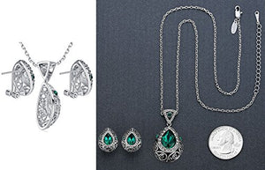 "[Presented by Miss New York] Leafael Teardrop Filigree Vintage Style Jewelry Set Earrings Pendant Necklace Made with Swarovski Crystals, Silver-tone, 18"" + 2"", Nickel/Lead Free, Gift Box"