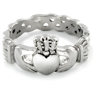 West Coast Jewelry Women's Stainless Steel Irish Claddagh with Celtic Knot Eternity Design Ring - Sizes 5-12