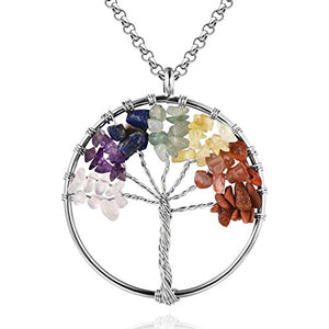 SHIP BY USPS: MURTOO Amulet Tree of Life Pendant Necklace Wire Wrapped 7 Chakra Yoga Reiki Healing Stone Jewelry 6 Color Options