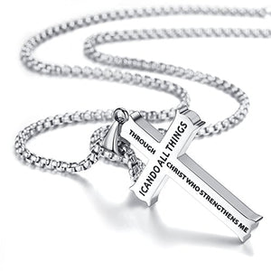 "SHIP BY USPS: Molike Bible Verse Philippians 4:13 Stainless Steel Cross Pendant Necklace for Men Women, 20"" -24"" Chain"