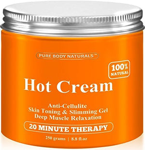 [Pack of 2 Jars x 8.8 oz] Pure Body Naturals Hot Cream for Cellulite Reduction, Skin Toning and Slimming, Deep Muscle Relaxation, 8.8 Ounce