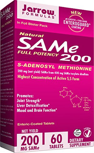 SHIP BY USPS: Jarrow Formulas Sam-e, Promotes Joint Strength, Liver Detoxification, 200mg, 20 Tabs