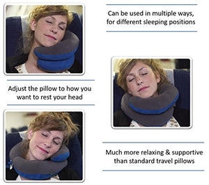 BCOZZY Chin Supporting Travel Neck Pillow - Supports The Head, Neck and Chin in in Any Sitting Position. A Patented Product. Discount- Set of 2. Adult Size, Black+Gray