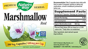 SHIP BY USPS: Nature's Way Marshmallow Root 480 mg, 100 Capsules