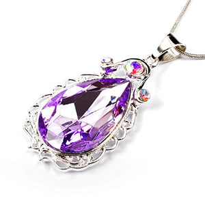 SHIP BY USPS: Wxbox Birthday Amulet Crystal Teardrop Necklace Fashion Jewelry Gift for Girls