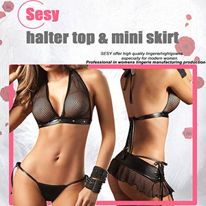 Women's Sexy Lingerie Mesh Leather Bra Top Halter Mini Skirt with Thong Set Black