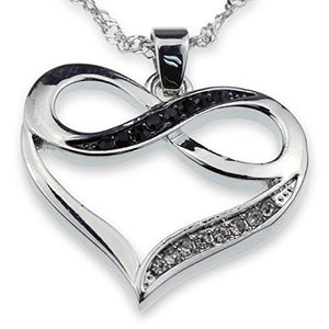 Silver Tone Infinity Crystal Accent Heart Black White Pendant Necklace Girlfriend Valentine Mother Day Anniversary Gift Jewelry