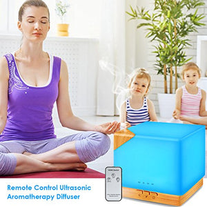 URPOWER 700ml Square Essential Oil Diffuser, Remote Control Ultrasonic Humidifier Aromatherapy Diffuser with 7...