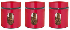Tea, Coffee, Sugar Jars, Set of 3 Glass Canisters in Red Metal Overlay, Air Tight Screw Top Lids, Perfect Storage Solution