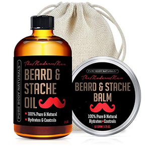 Pure Body Naturals Beard Care Kit for Men with Gift Bag, 2 Count