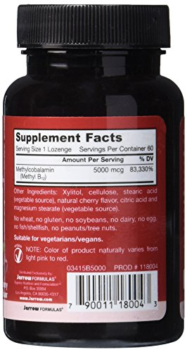 SHIP BY USPS Jarrow Formulas Methylcobalamin (Methyl B12), Supports Brain Cells, 5000 mcg, 60 Lozenges