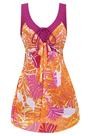 Women's Plus Size Swimdress Flower Printed Swimwear Cover Up Swimsuits